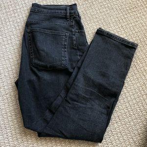 Everlane high rise straight black denim jeans
